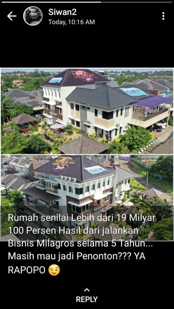 0881-405-1049 Milagros Malang Lowokwaru - Rumah seharga 19 Milyard terbeli dari hasil 5 tahun di bisnis Milagros - Siwan
